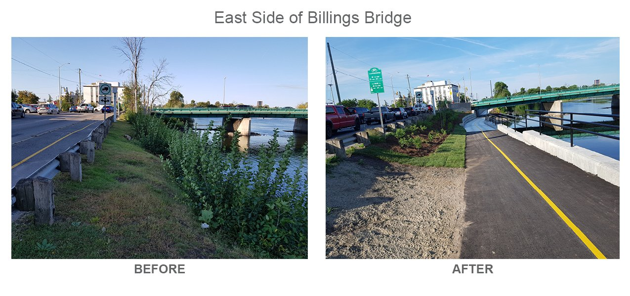 East Side of Billings Bridge Before and After