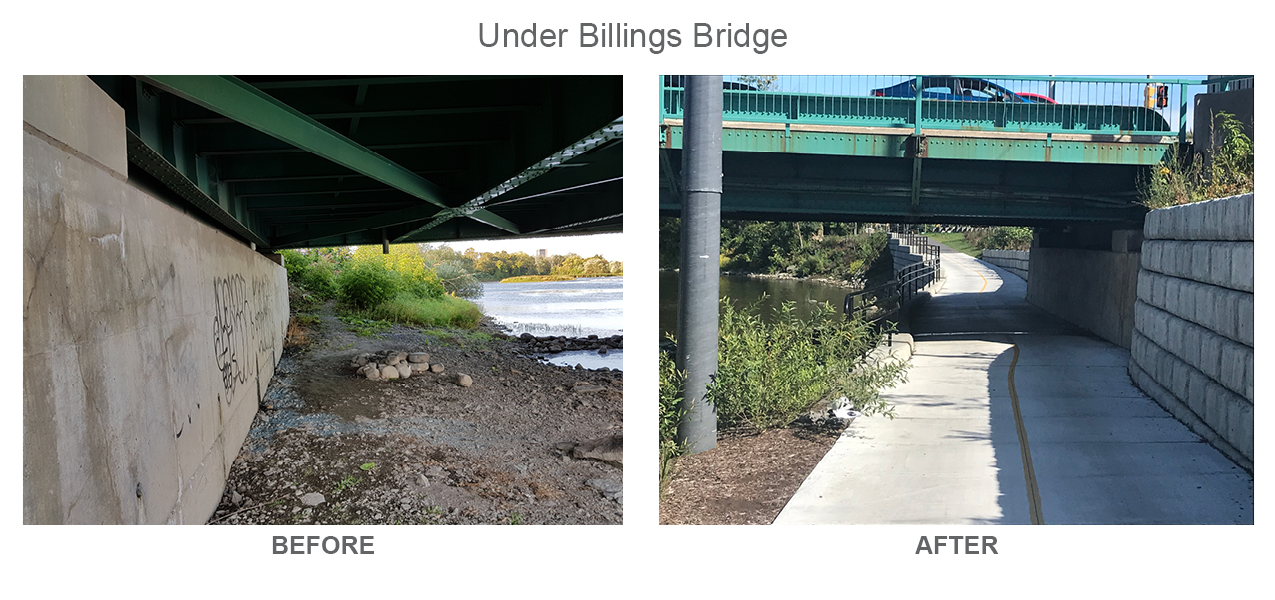 Under Billings Bridge Before and After